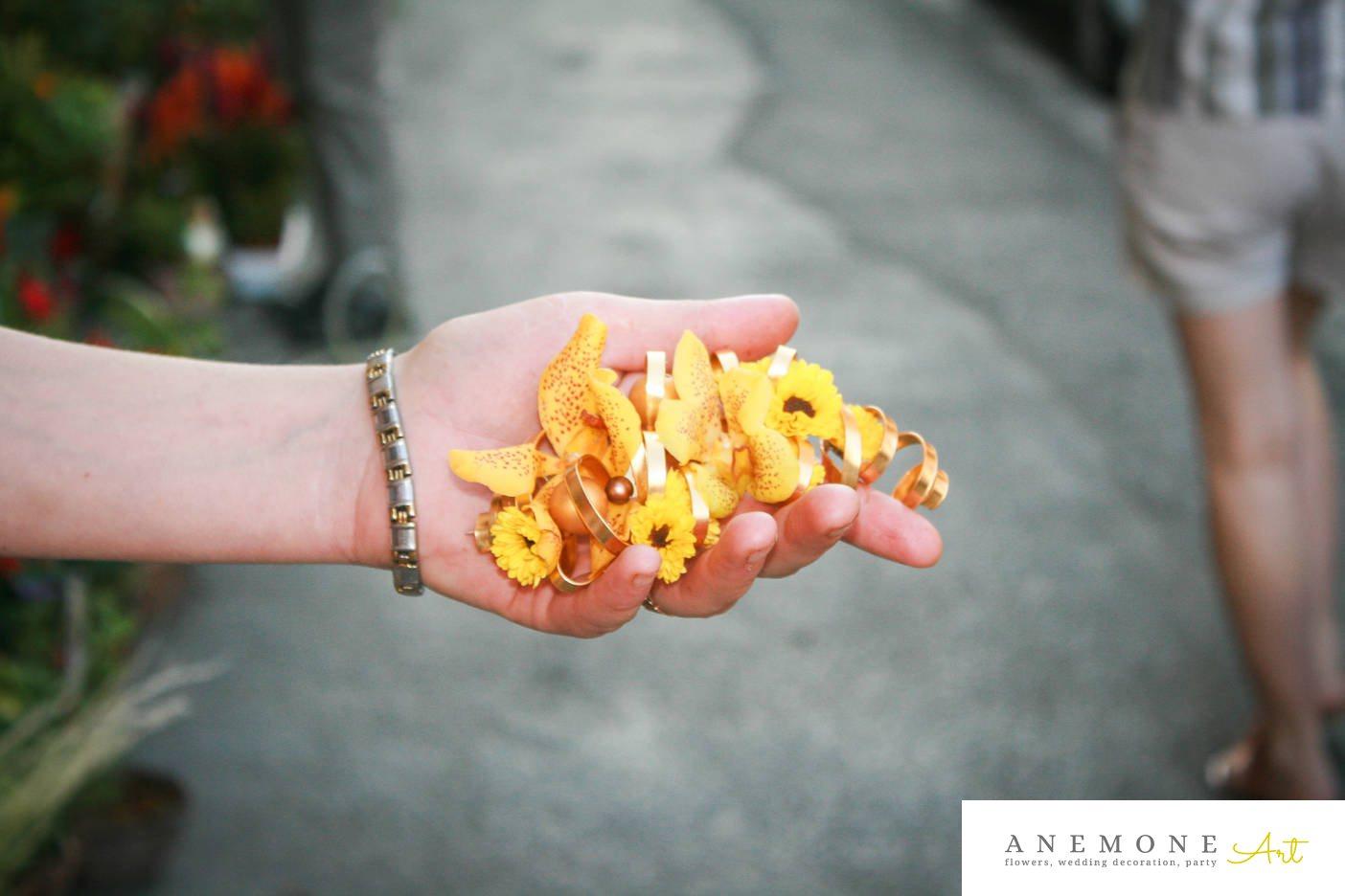 Poza, foto cu Flori de nunta aranjament par, galben, orhidee in Arad, Timisoara, Oradea (wedding flowers, bouquets) nunta Arad, Timisoara, Oradea