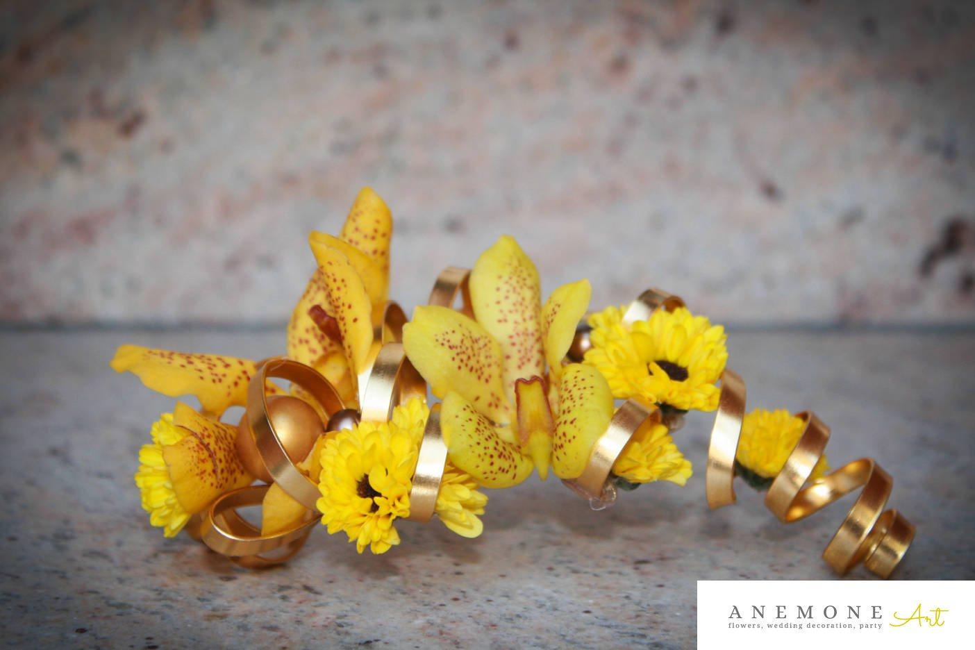Poza, foto cu Flori de nunta aranjament par, auriu, galben, orhidee in Arad, Timisoara, Oradea (wedding flowers, bouquets) nunta Arad, Timisoara, Oradea