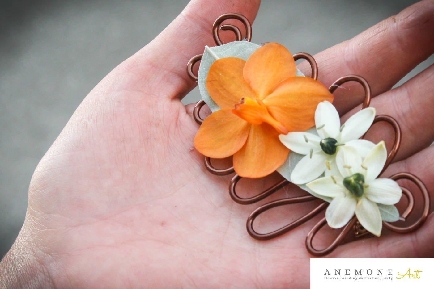 Poza, foto cu Flori de nunta alb, aranjament par, orhidee, ornitogallum, portocaliu in Arad, Timisoara, Oradea (wedding flowers, bouquets) nunta Arad, Timisoara, Oradea
