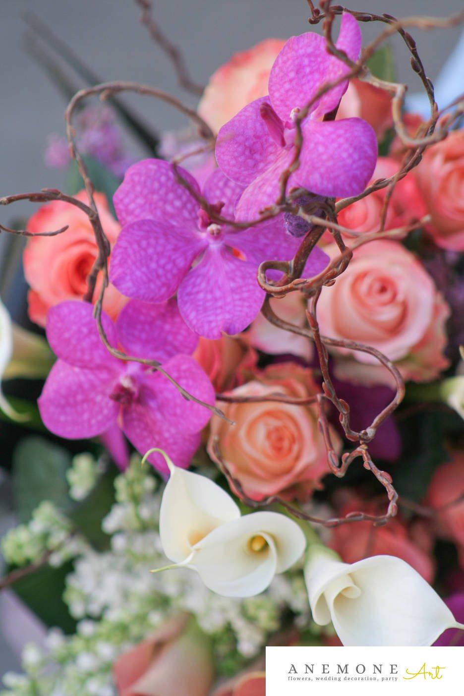 Poza, foto cu Flori de nunta alb, buchet flori, calla, crengi, mov, orhidee, piersica, roz, trandafiri in Arad, Timisoara, Oradea (wedding flowers, bouquets) nunta Arad, Timisoara, Oradea