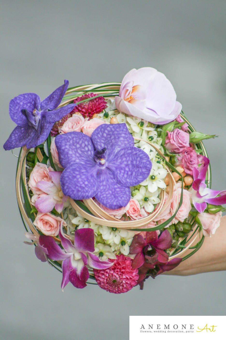 Poza, foto cu Flori de nunta buchet mireasa, dalia, mini-rosa, multicolor, orhidee, ornitogallum, rotund in Arad, Timisoara, Oradea (wedding flowers, bouquets) nunta Arad, Timisoara, Oradea