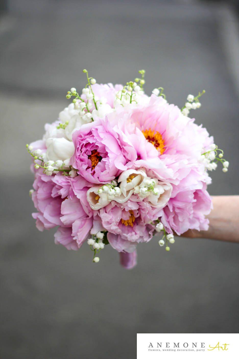 Poza, foto cu Flori de nunta alb, buchet mireasa, bujori, lacramioare, lalele, rotund, roz in Arad, Timisoara, Oradea (wedding flowers, bouquets) nunta Arad, Timisoara, Oradea
