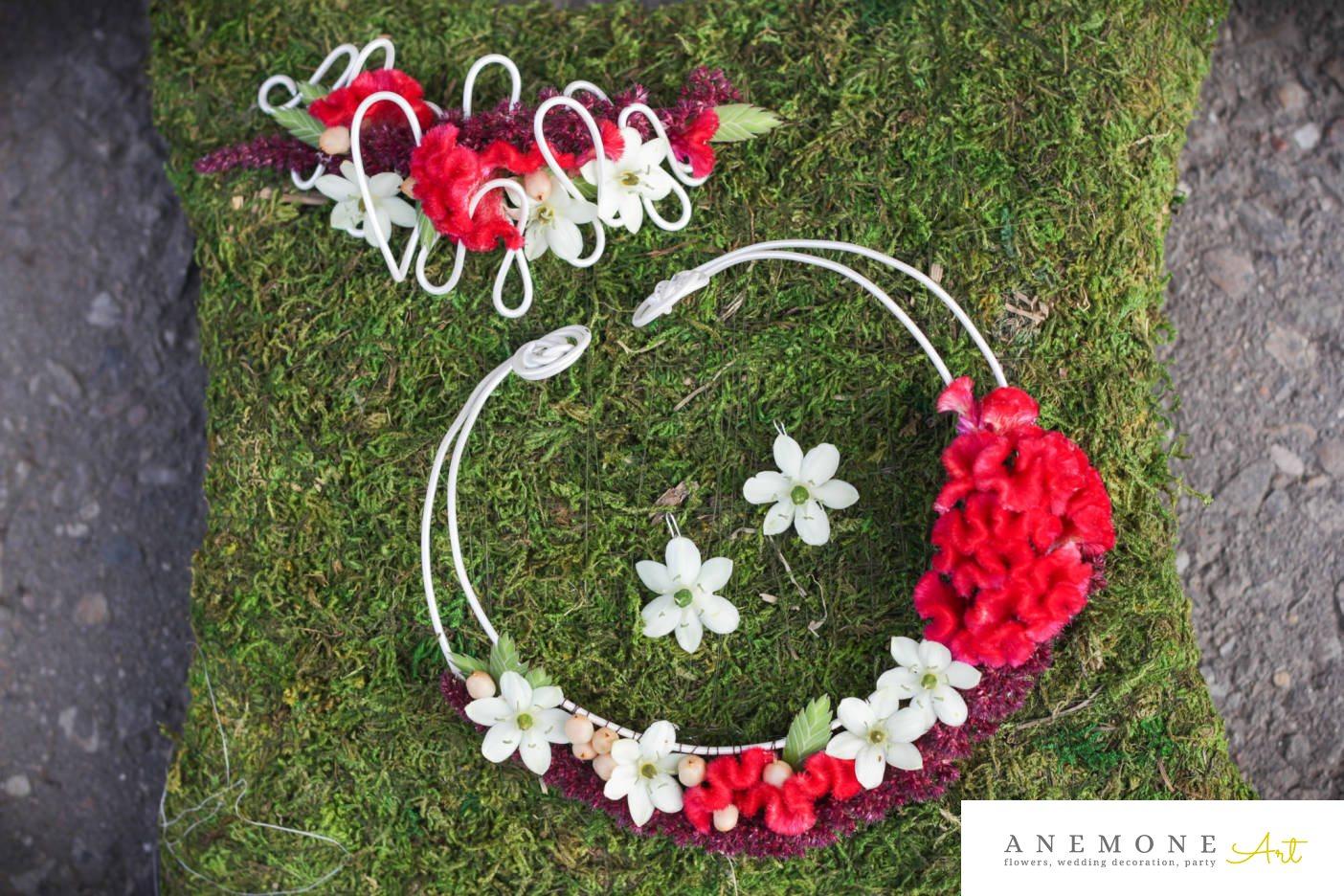 Poza, foto cu Flori de nunta aranjament par, cercei, colier in Arad, Timisoara, Oradea (wedding flowers, bouquets) nunta Arad, Timisoara, Oradea