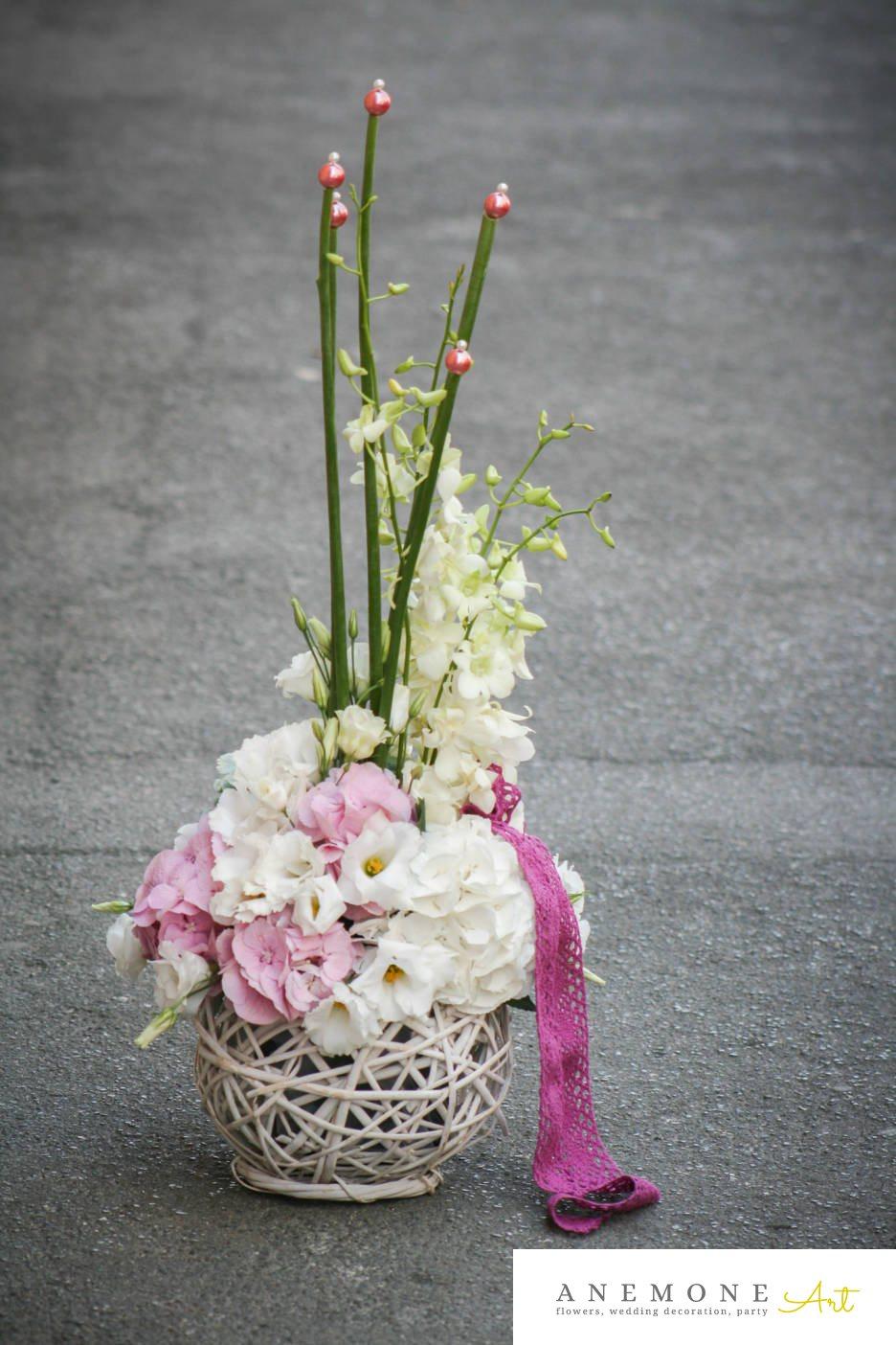 Poza, foto cu Flori de nunta alb, cos flori, hortensia, lisianthus, orhidee, perle, roz in Arad, Timisoara, Oradea (wedding flowers, bouquets) nunta Arad, Timisoara, Oradea