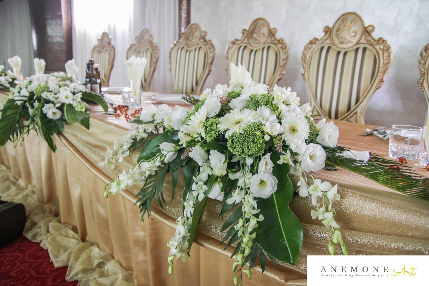 Poza, foto cu Flori de nunta hortensia, lisianthus, orhidee, prezidiu in Arad, Timisoara, Oradea (wedding flowers, bouquets) nunta Arad, Timisoara, Oradea