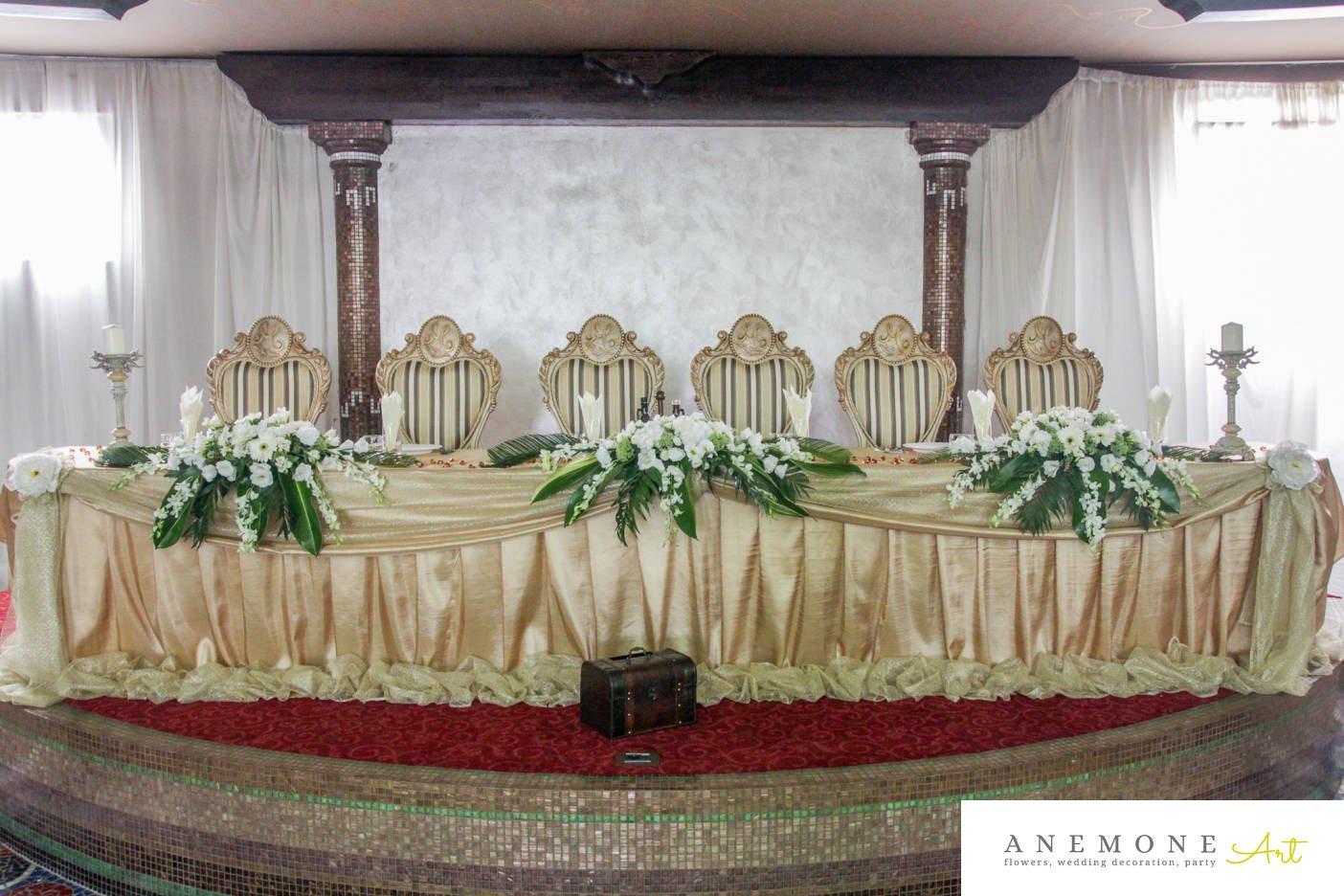 Poza, foto cu Flori de nunta alb, cutie bani, gerbera, hortensia, lisianthus, lumanare, prezidiu, verde in Arad, Timisoara, Oradea (wedding flowers, bouquets) nunta Arad, Timisoara, Oradea