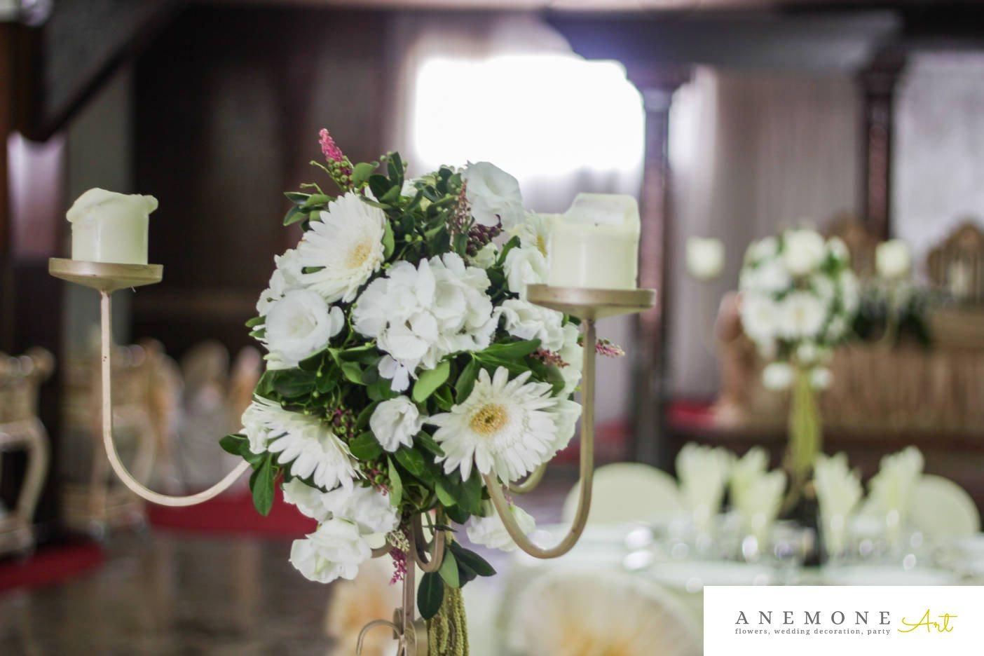 Poza, foto cu Flori de nunta alb, decor masa, gerbera, hortensia, lisianthus, lumanare, verde in Arad, Timisoara, Oradea (wedding flowers, bouquets) nunta Arad, Timisoara, Oradea