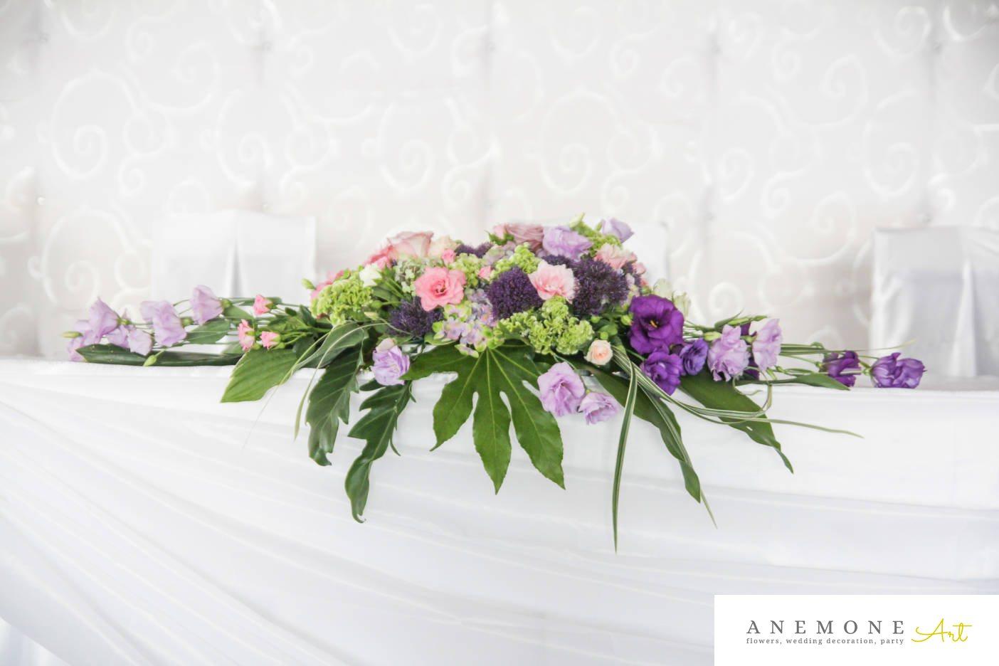 Poza, foto cu Flori de nunta decor masa, lisianthus, mini-rosa, mov, roz, sebum in Arad, Timisoara, Oradea (wedding flowers, bouquets) nunta Arad, Timisoara, Oradea