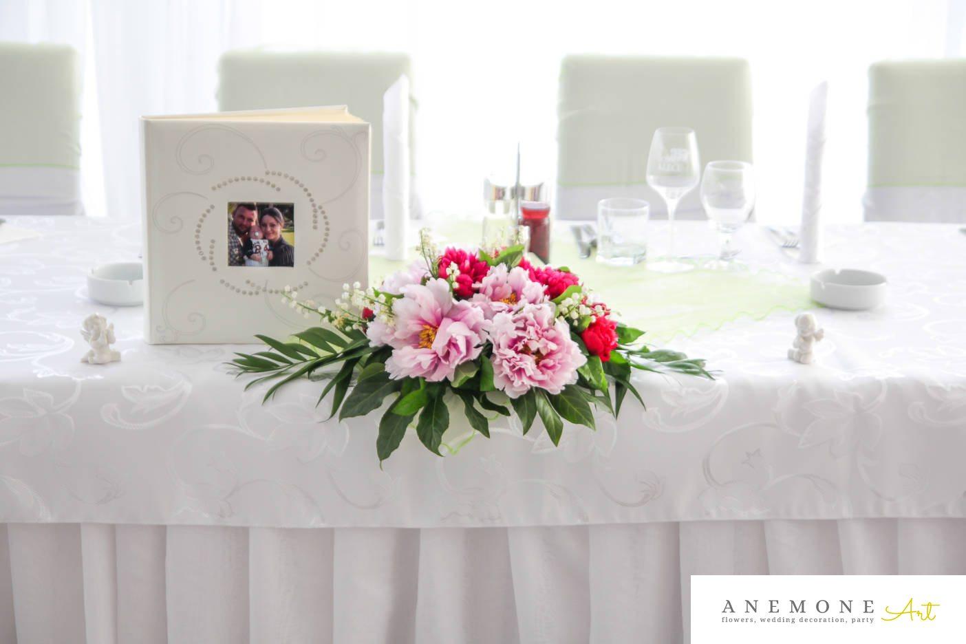 Poza, foto cu Flori de nunta bujori, decor masa, lacramioare, lumanare, roz, trandafiri in Arad, Timisoara, Oradea (wedding flowers, bouquets) nunta Arad, Timisoara, Oradea