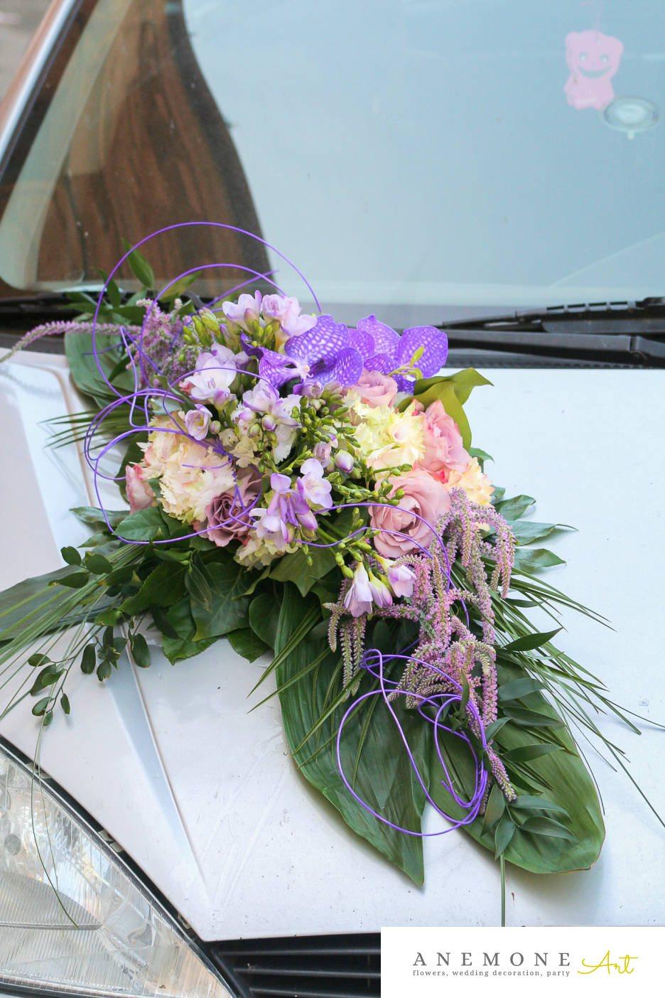 Poza, foto cu Flori de nunta amaranthus, asimetric, decor masina, frezii, lisianthus, multicolor, orhidee, trandafiri in Arad, Timisoara, Oradea (wedding flowers, bouquets) nunta Arad, Timisoara, Oradea
