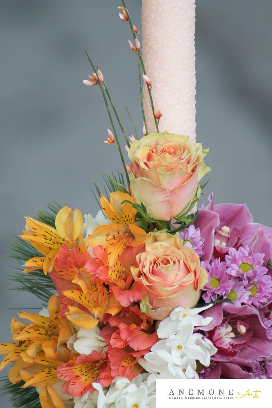 Poza, foto cu Flori de nunta alstroemeria, crizanteme, lumanare cununie, multicolor, orhidee, trandafiri in Arad, Timisoara, Oradea (wedding flowers, bouquets) nunta Arad, Timisoara, Oradea
