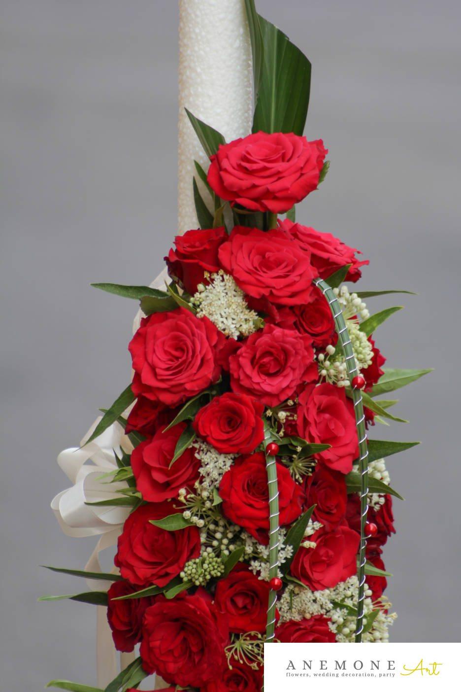 Poza, foto cu Flori de nunta alb, gipsofila, lumanare cununie, perle, rosu, sebum, trandafiri in Arad, Timisoara, Oradea (wedding flowers, bouquets) nunta Arad, Timisoara, Oradea