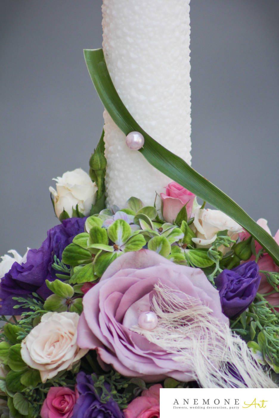 Poza, foto cu Flori de nunta hortensia, lisianthus, lumanare cununie, mini-rosa, multicolor, perle, trandafiri in Arad, Timisoara, Oradea (wedding flowers, bouquets) nunta Arad, Timisoara, Oradea