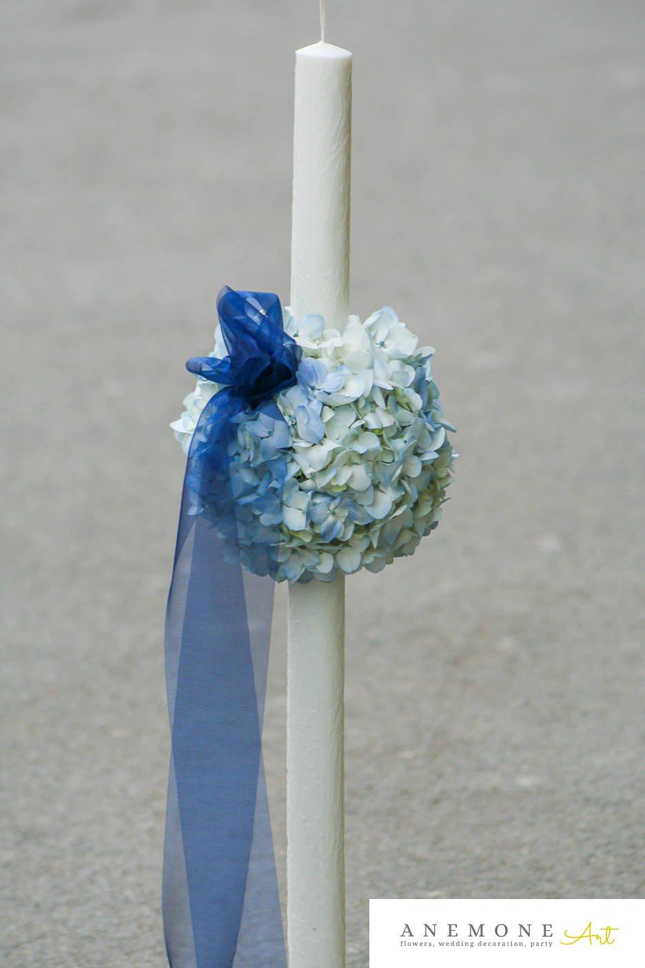 Poza, foto cu Flori de nunta albastru, glob, hortensia, lumanare cununie in Arad, Timisoara, Oradea (wedding flowers, bouquets) nunta Arad, Timisoara, Oradea