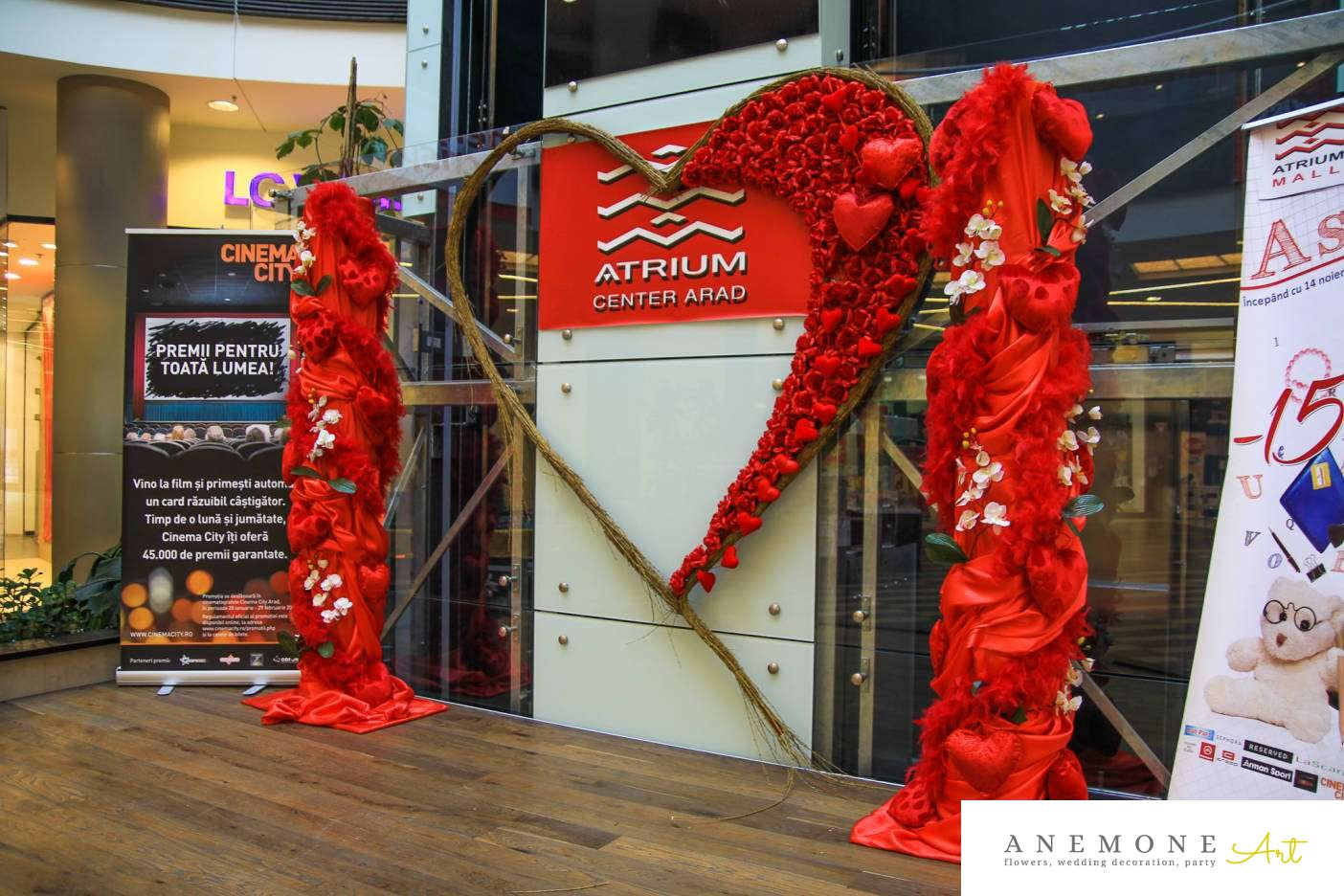 Poza, foto cu Flori de nunta atrium mall, decor tematic, inima, orhidee in Arad, Timisoara, Oradea (wedding flowers, bouquets) nunta Arad, Timisoara, Oradea