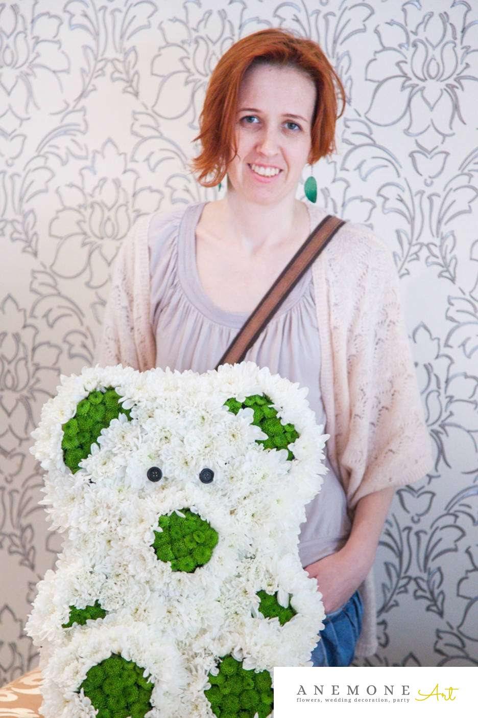 Poza, foto cu Flori de nunta alb, crizanteme, ursulet, verde in Arad, Timisoara, Oradea (wedding flowers, bouquets) nunta Arad, Timisoara, Oradea