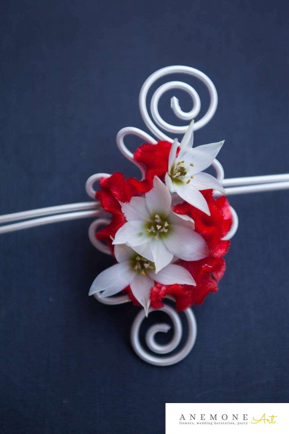 Poza, foto cu Flori de nunta alb, bratara, celosia, ornitogallum, rosu in Arad, Timisoara, Oradea (wedding flowers, bouquets) nunta Arad, Timisoara, Oradea