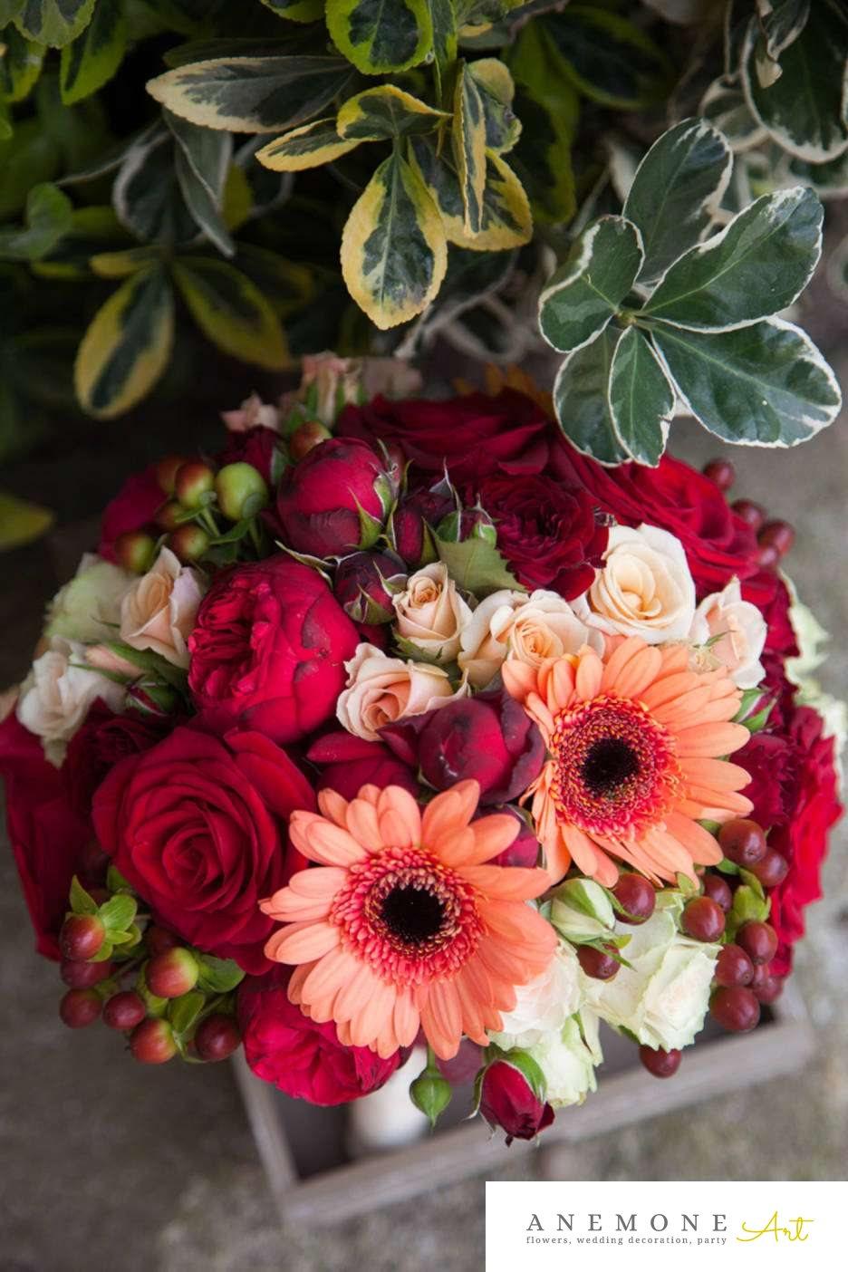 Poza, foto cu Flori de nunta buchet mireasa, gerbera, mini-rosa, piersica, rosu, rotund, trandafiri, visiniu in Arad, Timisoara, Oradea (wedding flowers, bouquets) nunta Arad, Timisoara, Oradea