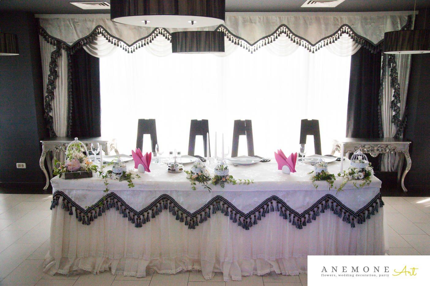 Poza, foto cu Flori de nunta colivie, Joie de vivre, lisianthus, prezidiu in Arad, Timisoara, Oradea (wedding flowers, bouquets) nunta Arad