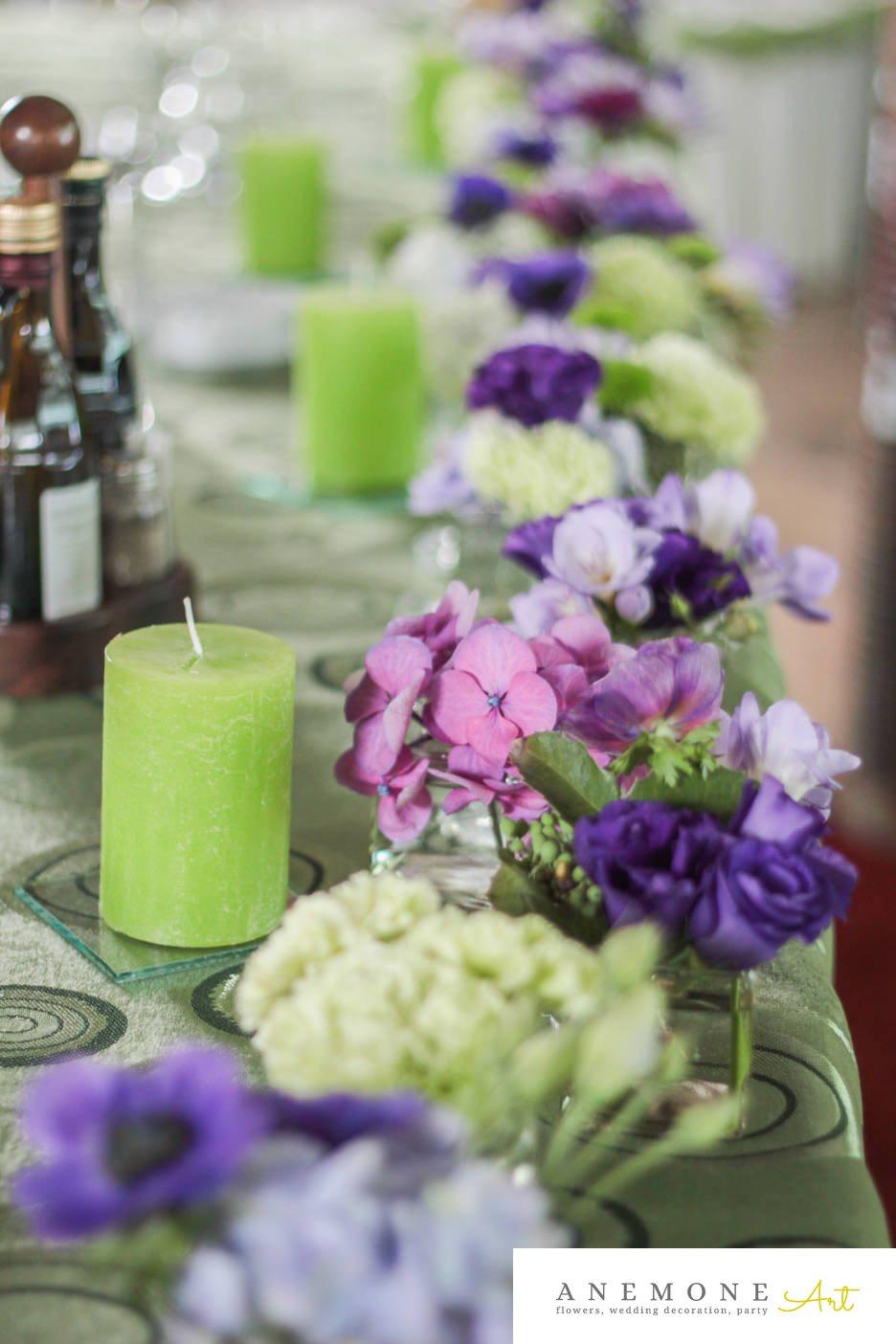 Poza, foto cu Flori de nunta albastru, crizanteme, decor masa, hortensia, lisianthus, lumanare, mac, mov, sebum, verde in Arad, Timisoara, Oradea (wedding flowers, bouquets) nunta Arad, Timisoara, Oradea
