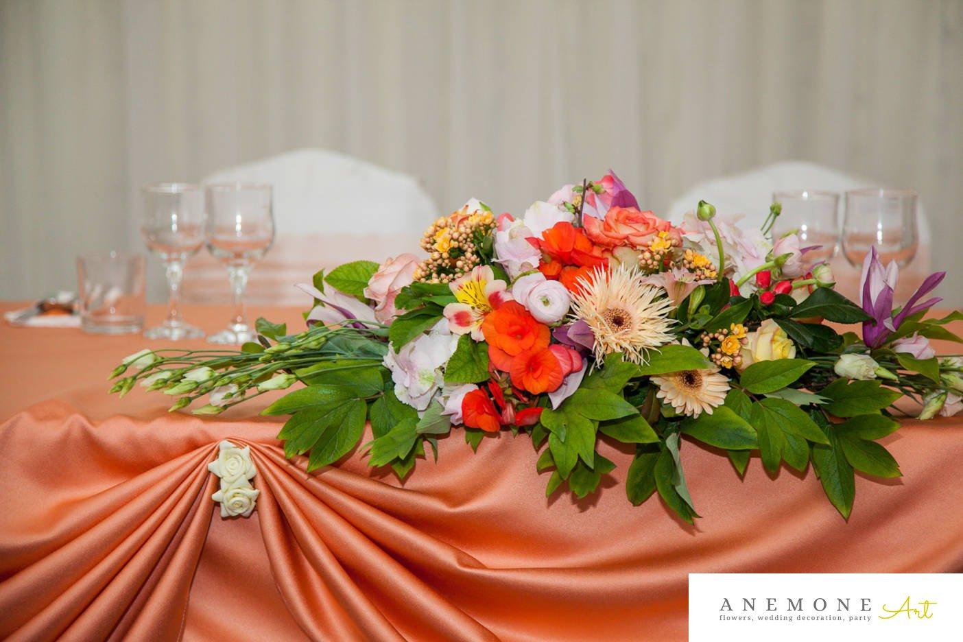 Poza, foto cu Flori de nunta alstroemeria, decor masa, gerbera, magnolia, mini-rosa, multicolor, trandafiri in Arad, Timisoara, Oradea (wedding flowers, bouquets) nunta Arad, Timisoara, Oradea