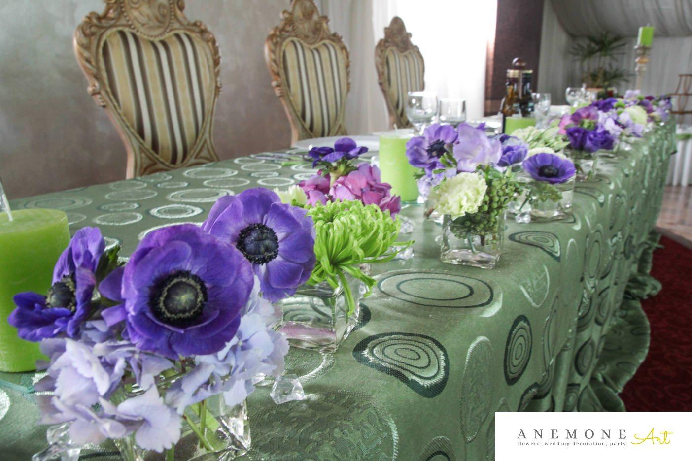 Poza, foto cu Flori de nunta albastru, crizanteme, decor masa, hortensia, lisianthus, mac, mov, sebum in Arad, Timisoara, Oradea (wedding flowers, bouquets) nunta Arad, Timisoara, Oradea