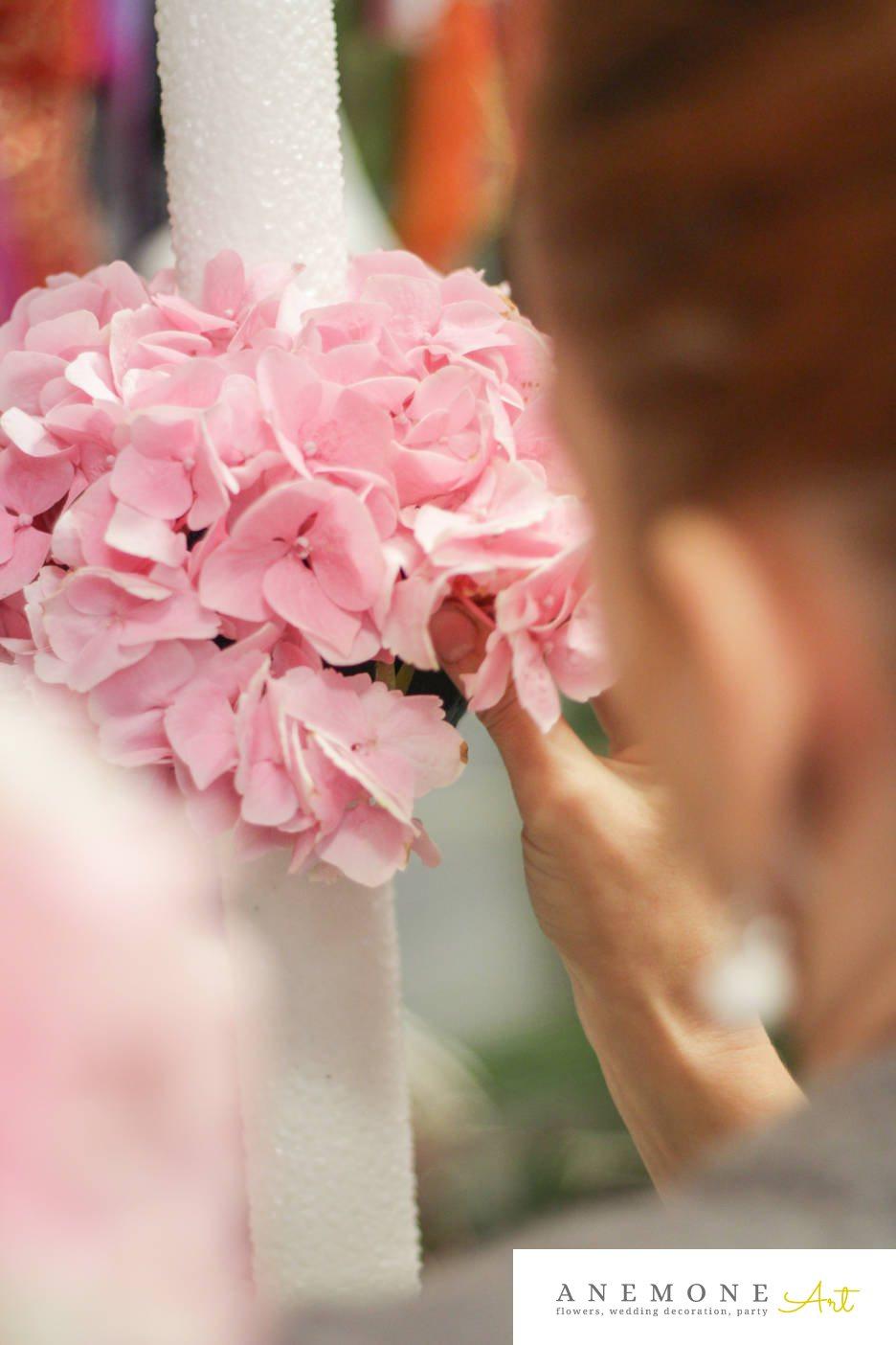 Poza, foto cu Flori de nunta hortensia, lumanare cununie in Arad, Timisoara, Oradea (wedding flowers, bouquets) nunta Arad, Timisoara, Oradea