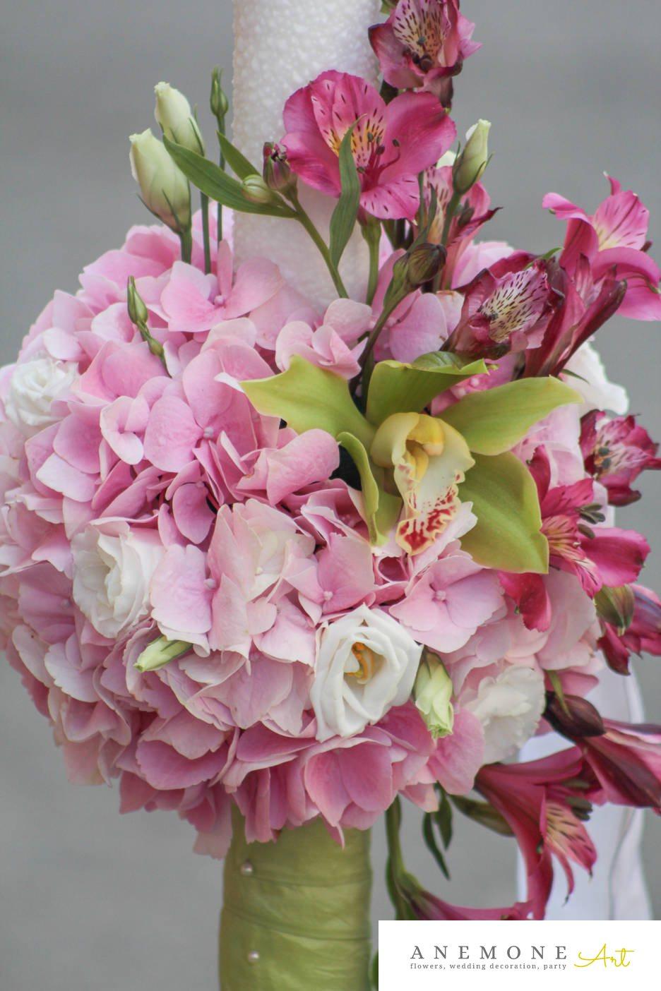 Poza, foto cu Flori de nunta alb, alstroemeria, hortensia, lisianthus, lumanare cununie, orhidee, roz in Arad, Timisoara, Oradea (wedding flowers, bouquets) nunta Arad, Timisoara, Oradea