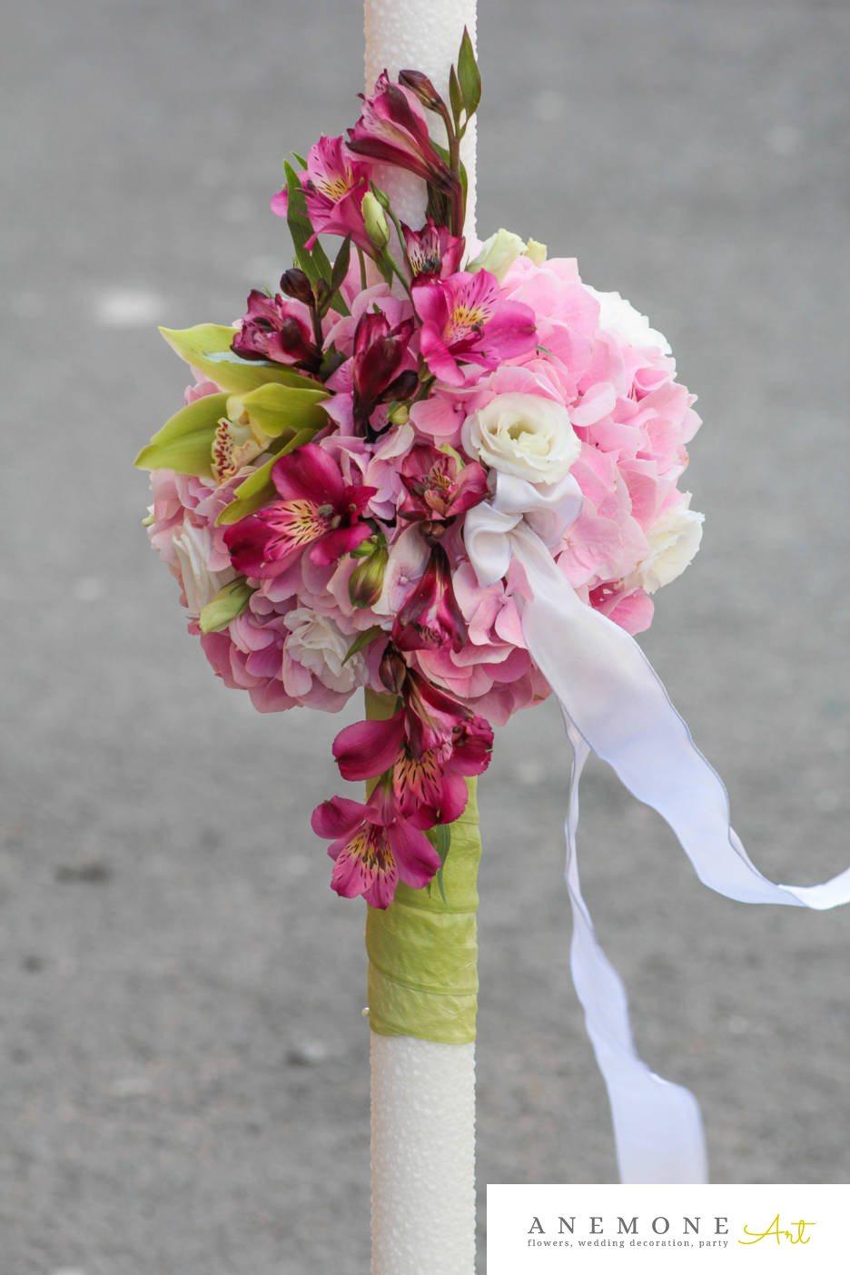 Poza, foto cu Flori de nunta hortensia, lisianthus, lumanare cununie, orhidee in Arad, Timisoara, Oradea (wedding flowers, bouquets) nunta Arad, Timisoara, Oradea