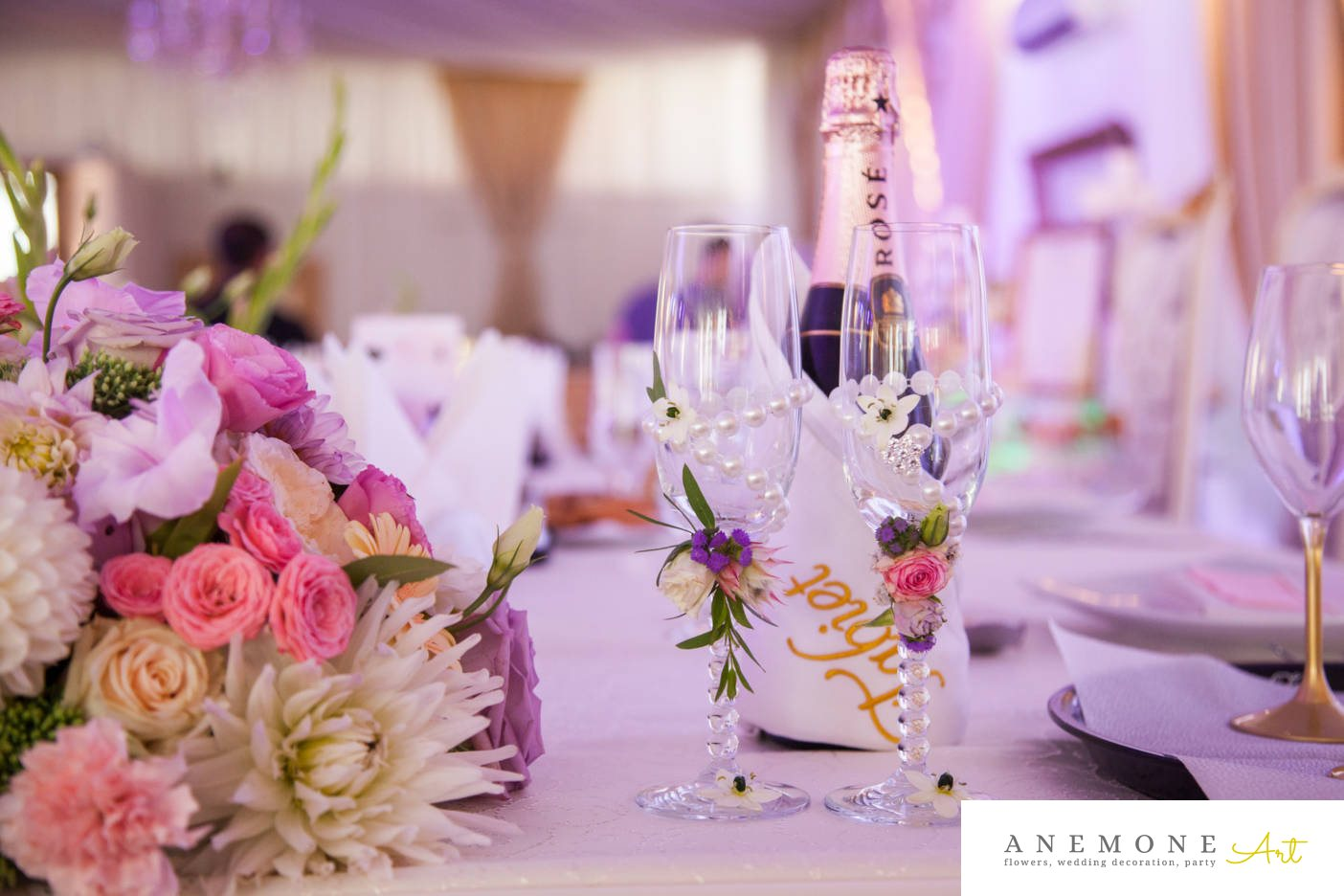 Poza, foto cu Flori de nunta pahare, tabiet events arad in Arad, Timisoara, Oradea (wedding flowers, bouquets) nunta Arad
