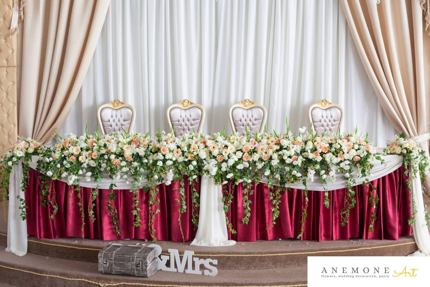Poza, foto cu Flori de nunta prezidiu, tabiet events arad in Arad, Timisoara, Oradea (wedding flowers, bouquets) nunta Arad